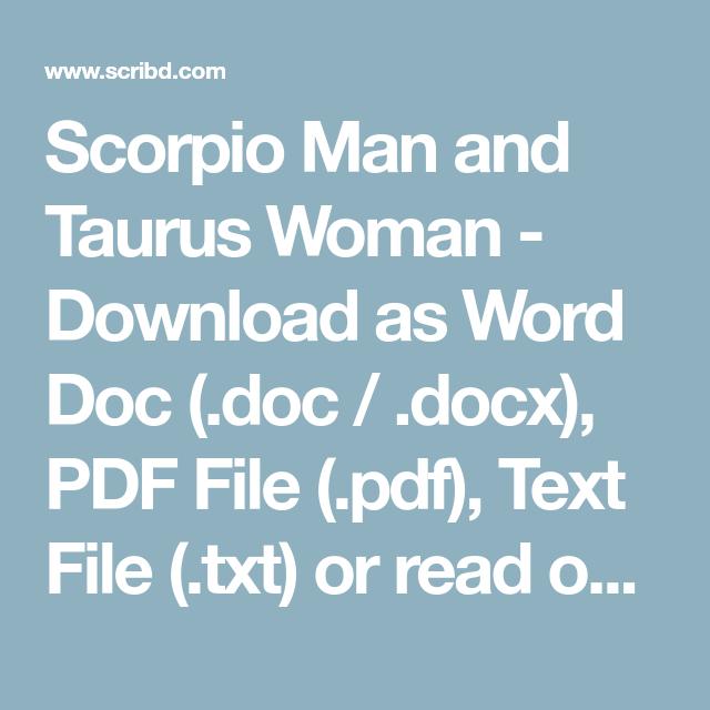 Scorpio Man and Taurus Woman - Download as Word Doc ( doc