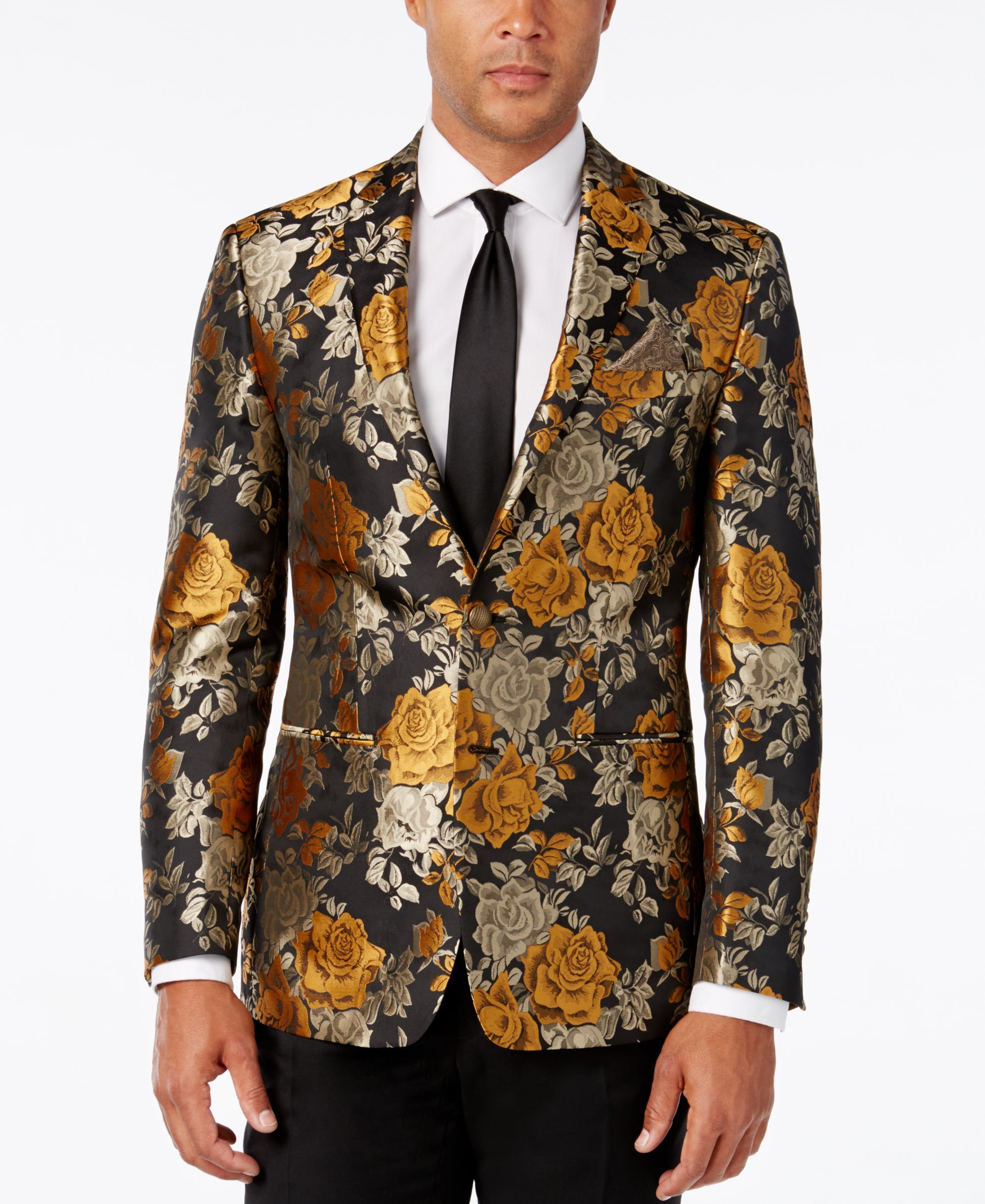 dff51b0b32b Tallia Men s Slim-Fit Black and Gold Floral Evening Jacket