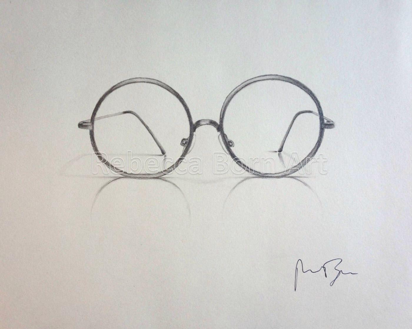Рисунки очки карандашом