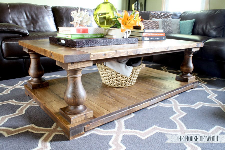 Diy Restoration Hardware Inspired Barade Coffee Table Paint The Pillars With An Antique Aged White