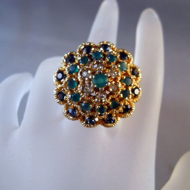 Panetta Rhinestone Sterling Cocktail Ring Size 8 from Suzy's Timeless Treasures on Ruby Lane
