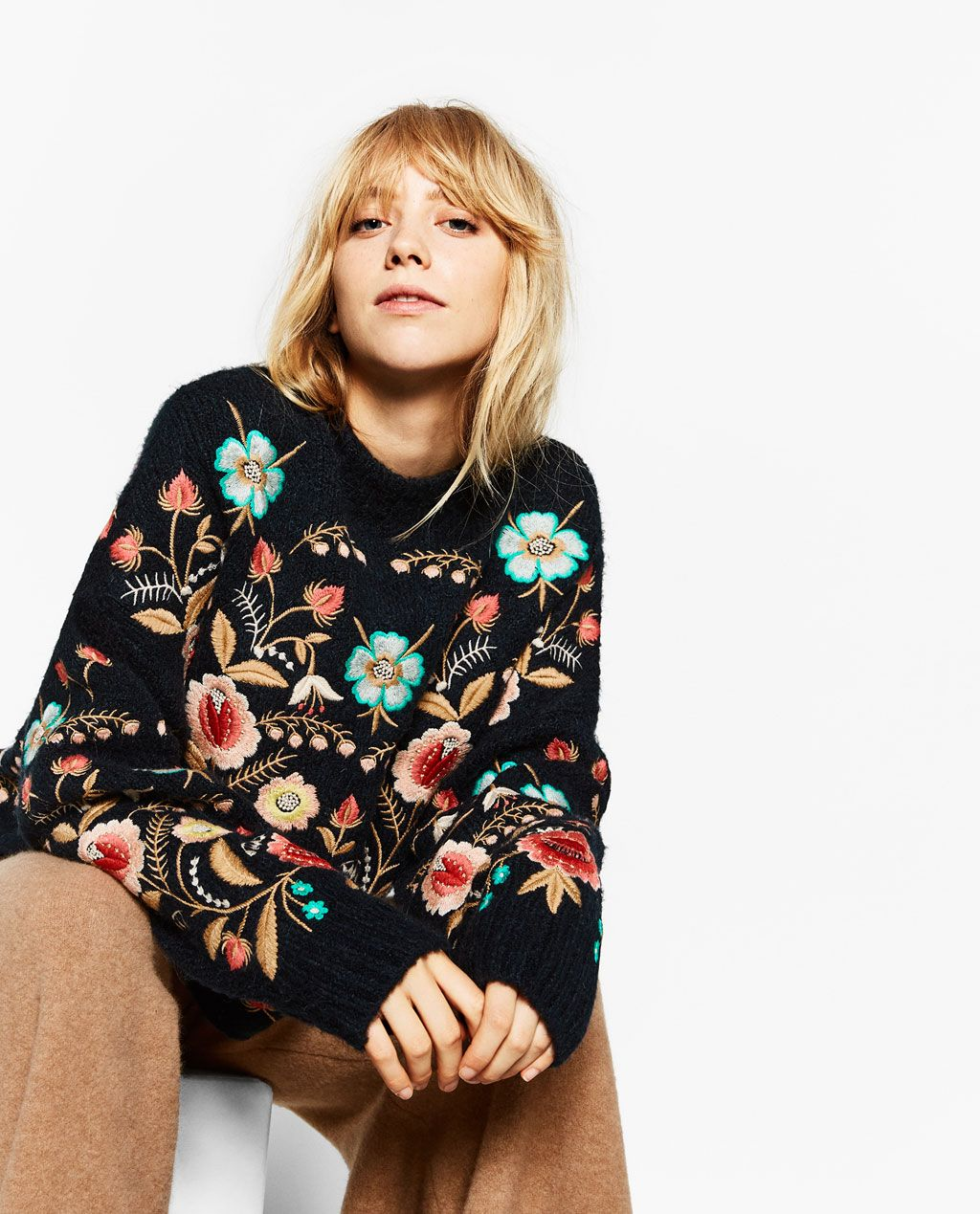 floral embroidered sweater knitwear woman sale zara united states workin it fashion