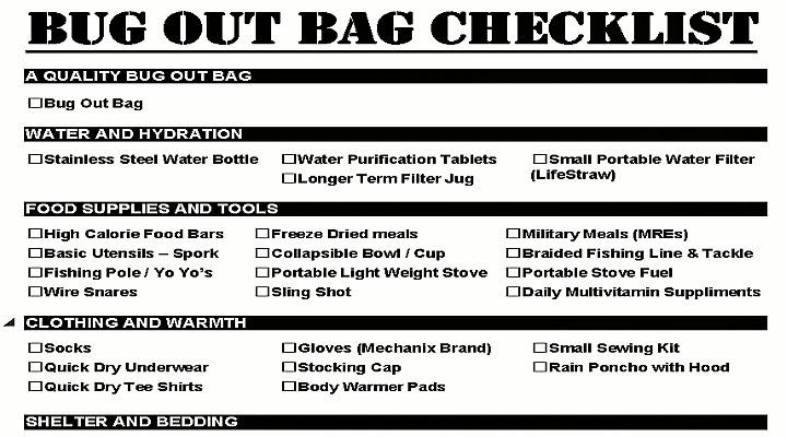 Bug Out Bag Checklist  Survival Gears  Tricks