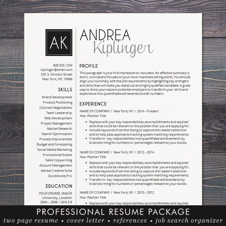 Resume Template CV Template Word for Mac or PC Resume Pinterest - copy writing letter reference examples
