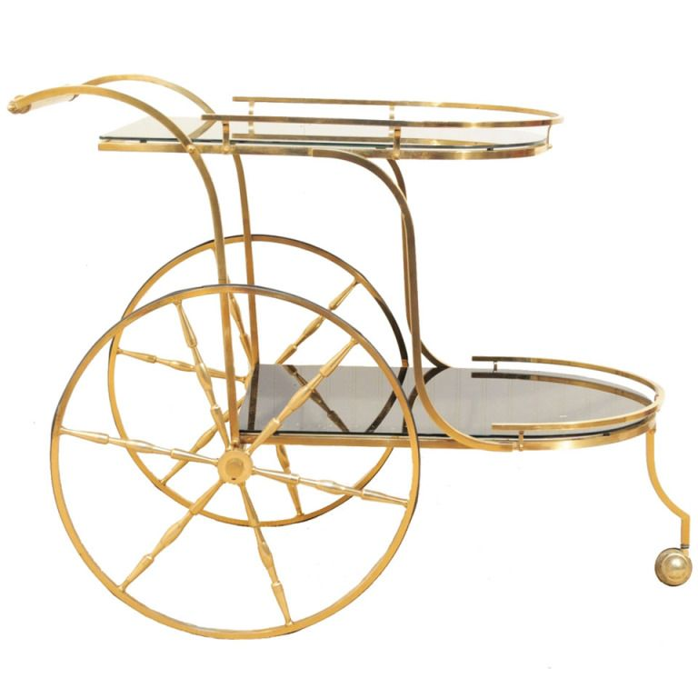 Vintage Italian Hollywood Regency Solid Br Gold Flecks Black Gl Tea Cart Via