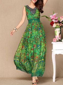 e8bd305f789 Green Swing V Neck Silk Sleeveless Maxi Dress