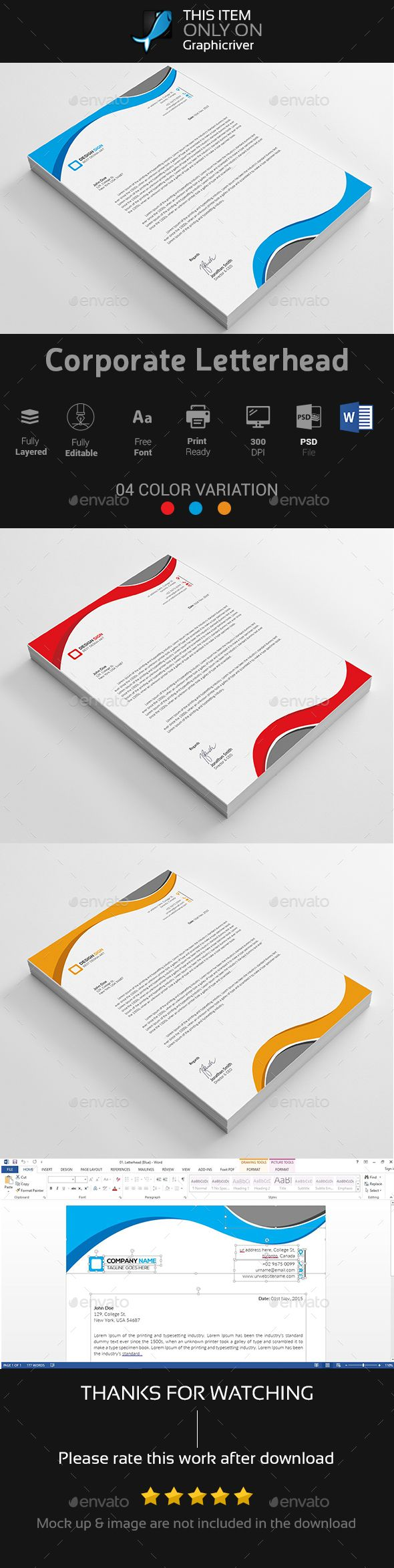 Corporate Letterhead Vol  Template Stationery Printing And
