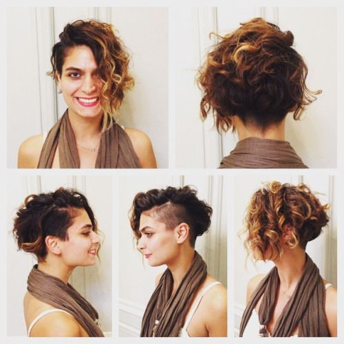 Curly Hairstyles, Undercut Curly Hair, Undercut Bob, Curly Hair Shaved  Side, Curly