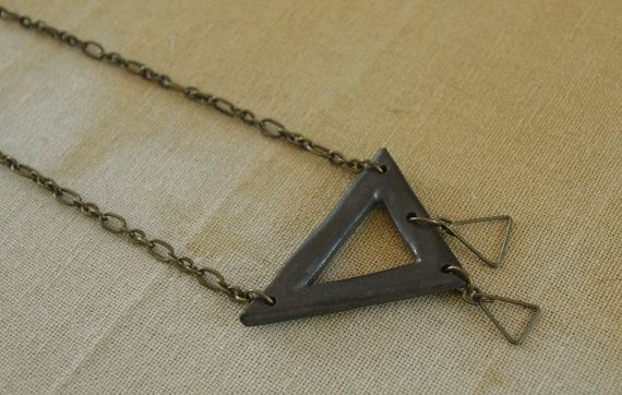 Pierced Triangle Pendant Necklace