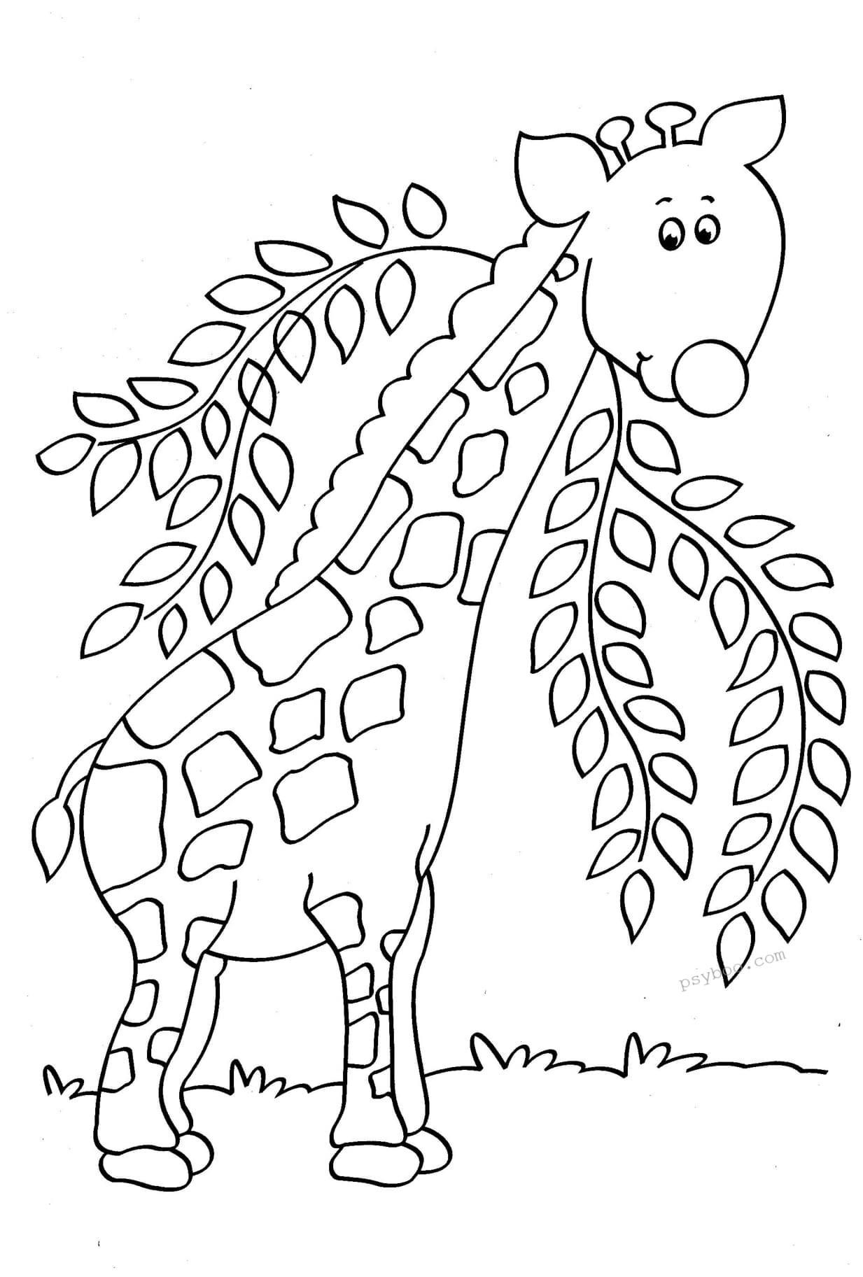 Cute Baby Giraffe Coloring Page For Toddlers In 2020 Giraffe Coloring Pages Baby Giraffe Baby Cartoon