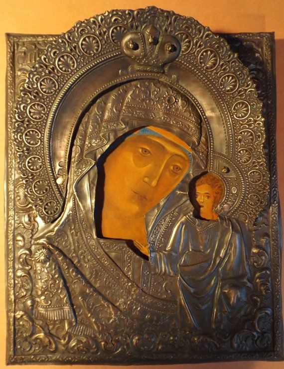 Eastern Orthodox Byzantine Icon, Theotokos, Virgin Mary of Kazan, Kazanskaya, Copper Oklad, hand painted on Wood by Vadim Moroz, Home Church...