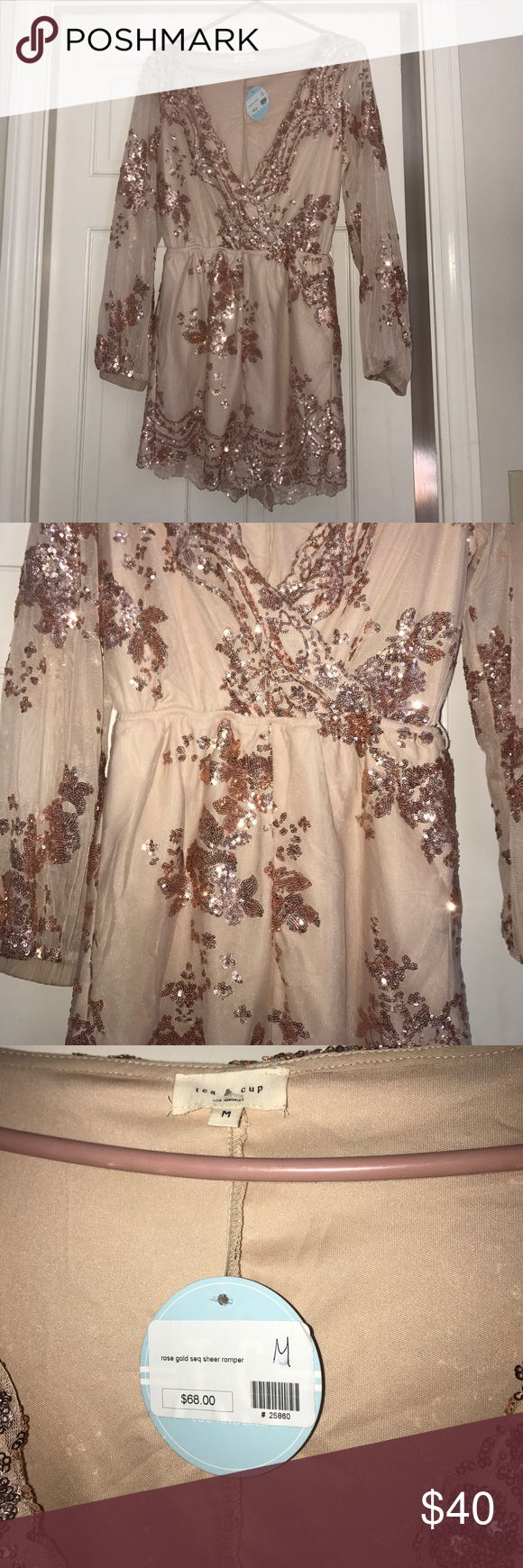 Rose gold sequin ***ROMPER Rose gold long sleeve surplice romper sequin detailing never worn with tags Tea n Cup Dresses