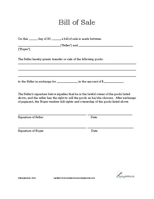Basic Bill Of Sale Form  Printable Blank Form Template  Real