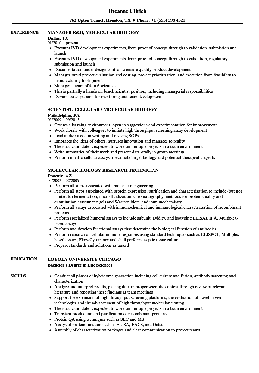 Resume Examples Biology Manager Resume Resume Examples Job Resume Samples