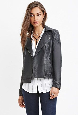 Quilted Faux Leather Moto Jacket   Forever 21 - 2000161325   Style ... : quilted faux leather moto jacket - Adamdwight.com