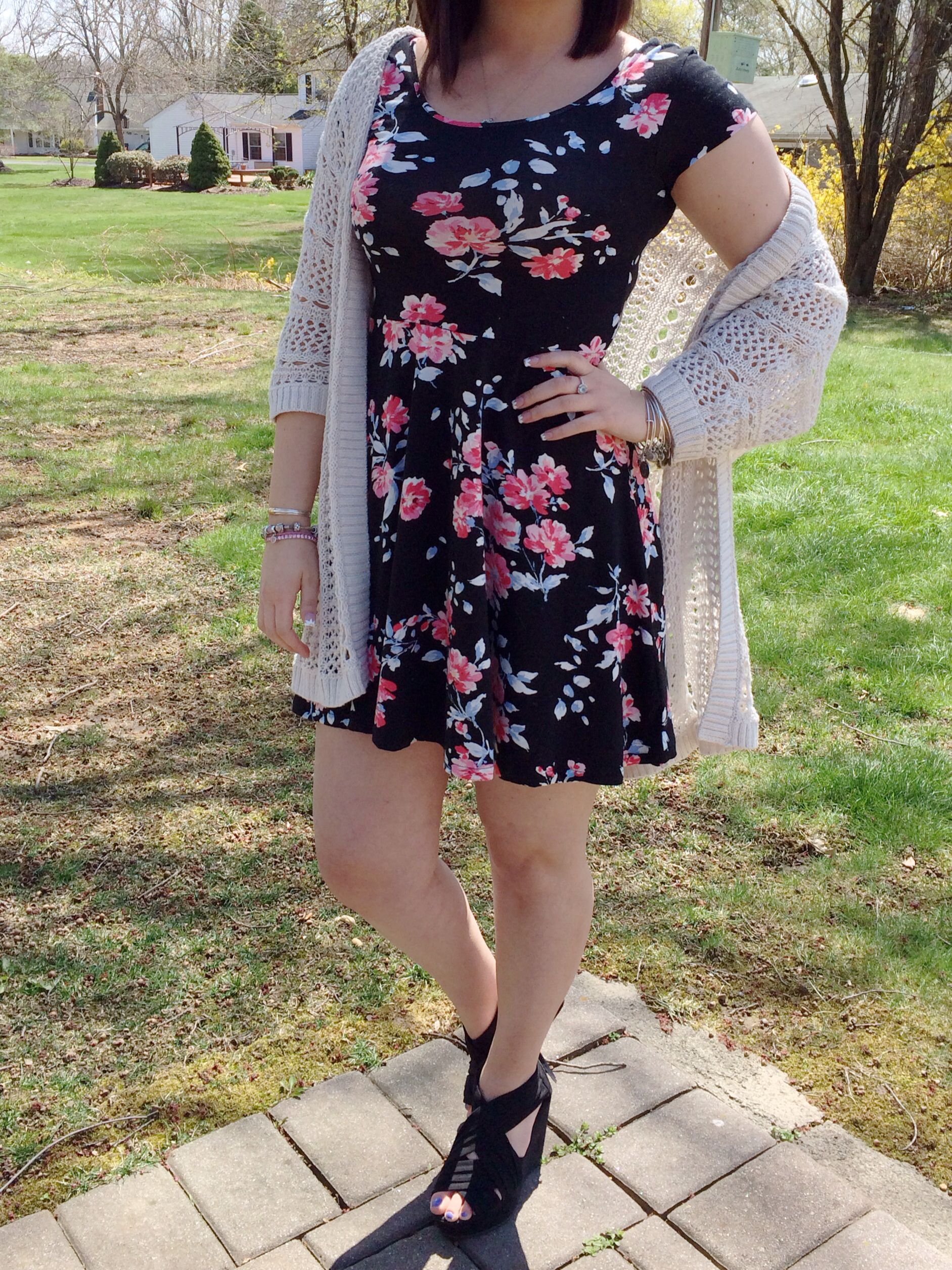 Black dress and cardigan - Outfit Details Aeropostale Floral Dress Bethany Mota Cream Knit Cardigan