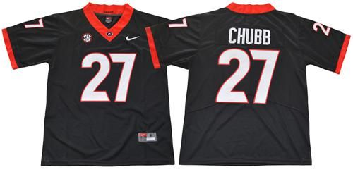the best attitude 7fa8d 6080b Bulldogs #27 Nick Chubb Black Limited Stitched NCAA Jersey ...