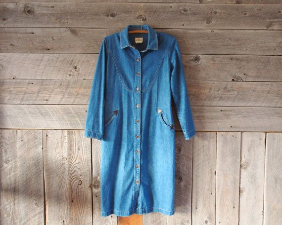 vintage western denim shirt dress from WindyPeakVintage on Etsy