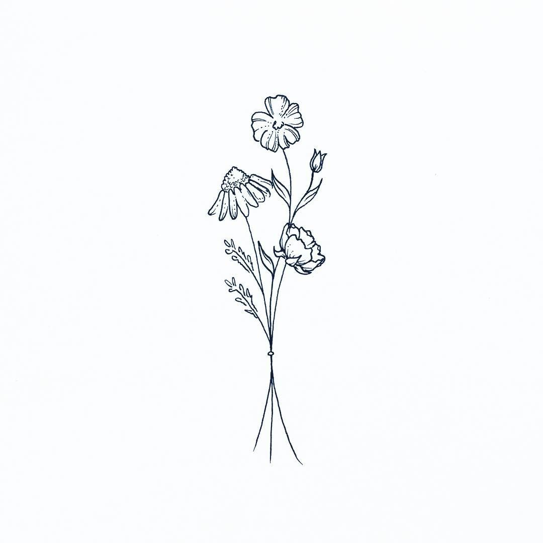 Flower Bouquet Line Drawing : Tattoo pinterest art drawings and