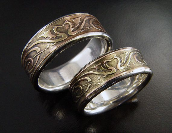 dragon heart wedding ring set silver bronze etched wedding rings with celtic style - How To Wear A Wedding Ring Set