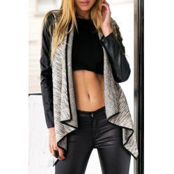 Fashionable Faux Leather Spliced Long Sleeve Irregular Coat For Women
