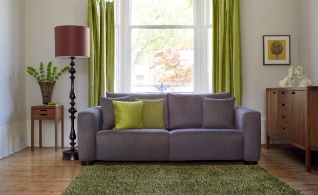 This Dusky Grey Purple Sofa Contrasts With Lime Green And