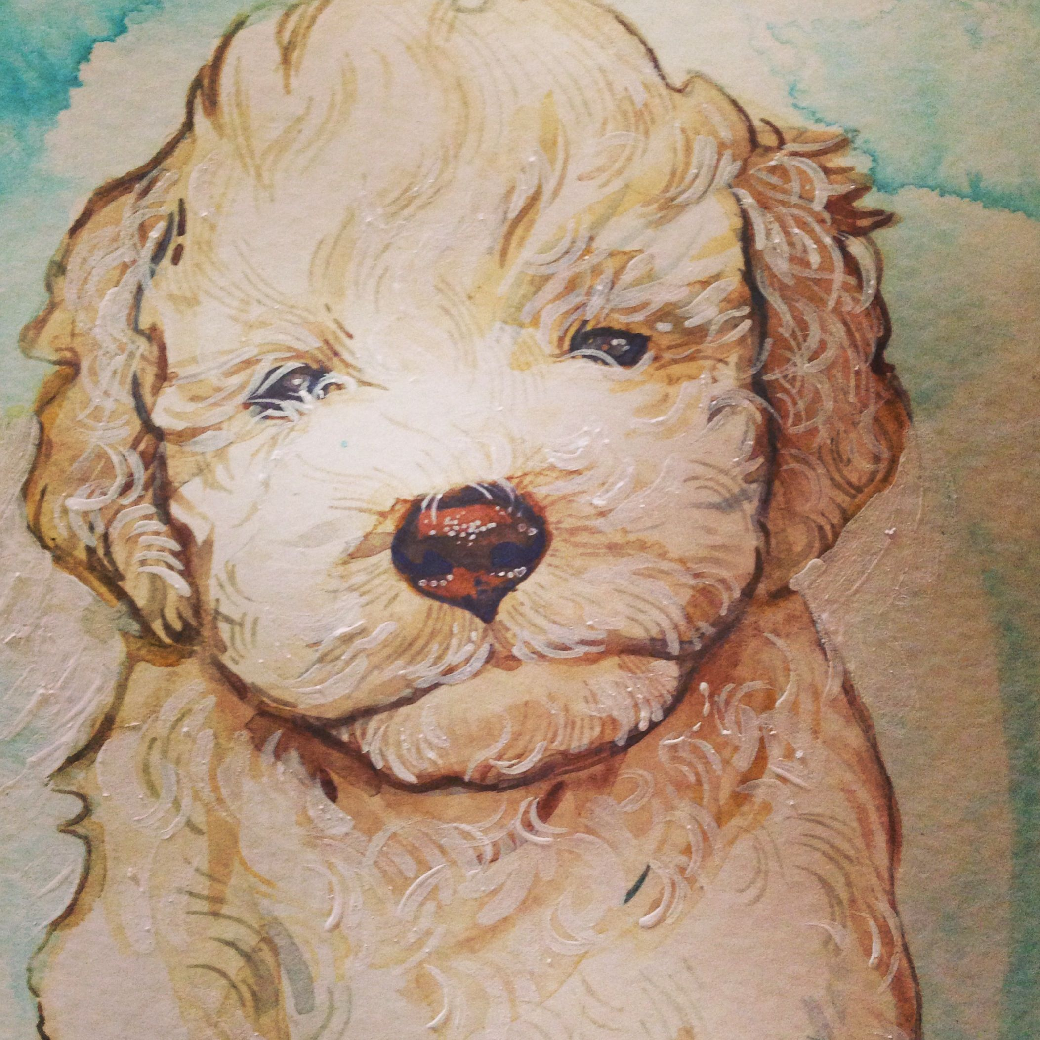 A detail of a recent portrait of an ancient dog breed