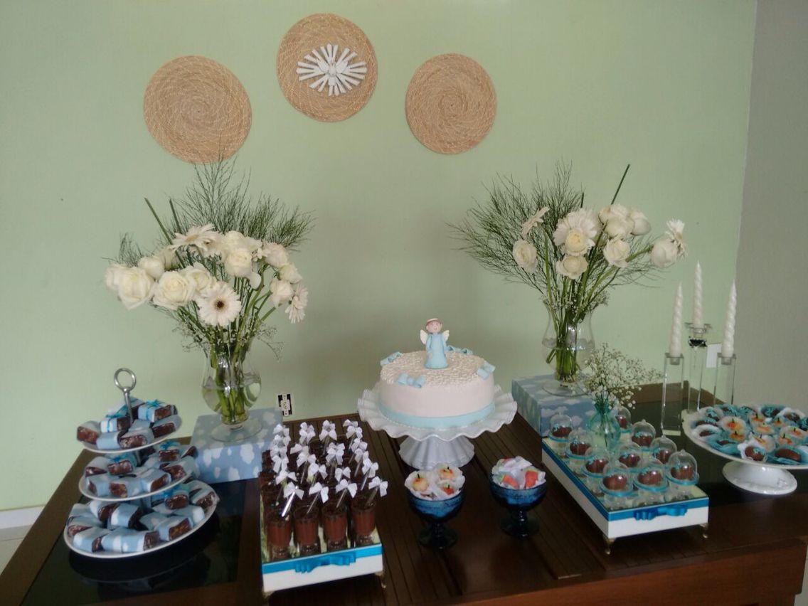 Batizado Diy Flores da feira Caixas e brownie encapadas com tecido de nuvem Sousplat como  -> Decoração Batizado Faça Voce Mesmo Simples