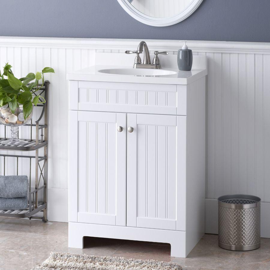 Style Selections Ellenbee 24 5 In White Single Sink Bathroom