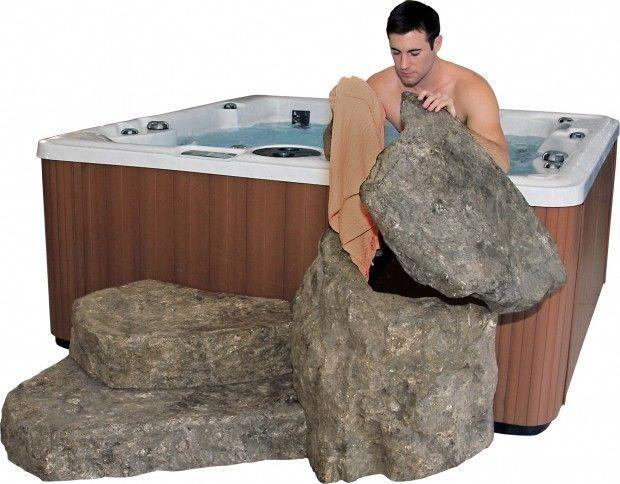 EcoRocks - Storage and Steps for Your Hot Tub & Swim Spa | PDC Spas #hottubdeck