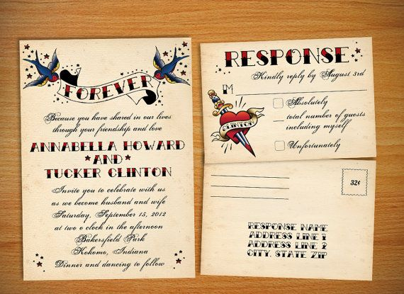 Tattoo Vintage Rockabilly Wedding Invitation By Stellarstationary