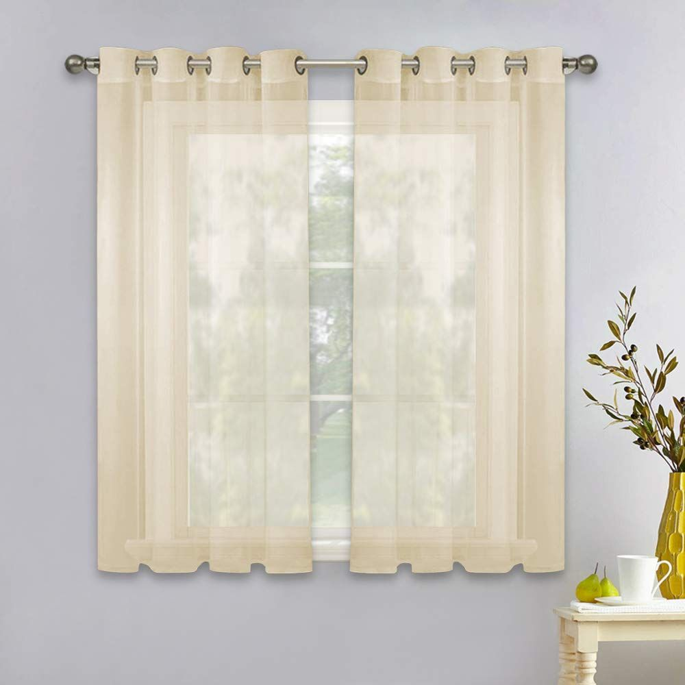 Nicetown Sheer Window Curtain Panels 45 Inches Grommet Solid