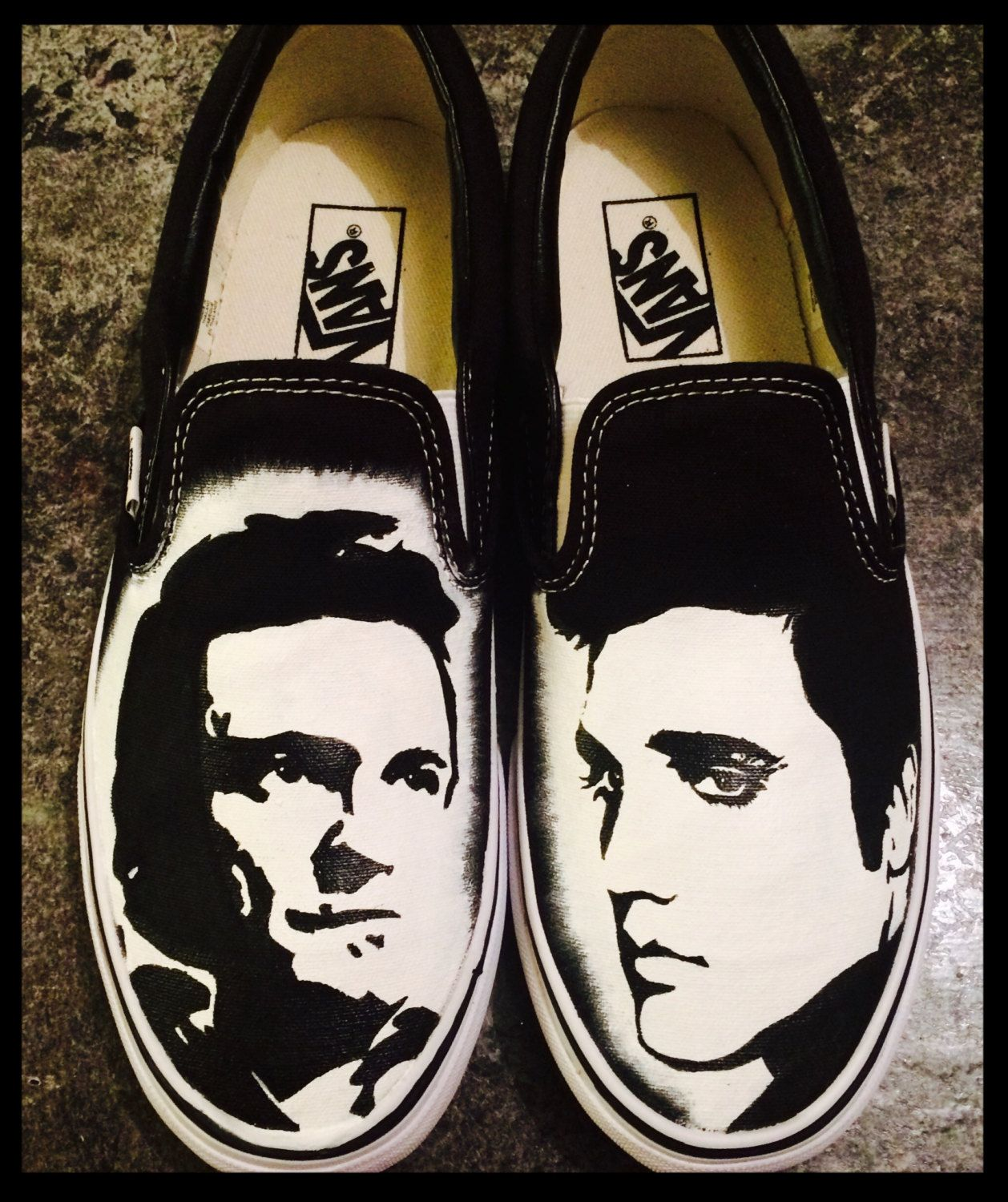 Hand Painted Johnny Cash And Elvis Vans by