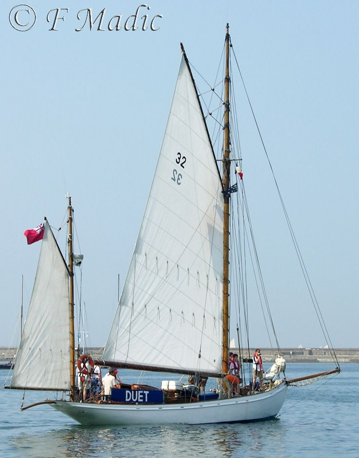 """""""Duet"""" is a Gaff Yawl designed by Linton Hope and built 1912 by Whites of Itchen, Southampton. Length 50ft (15.20m)"""