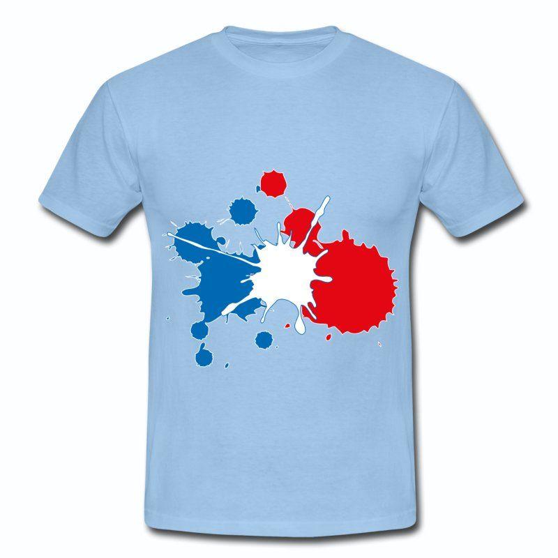 T Shirt Bleu Ciel France Supporter Bleu Blanc Rouge Tache De