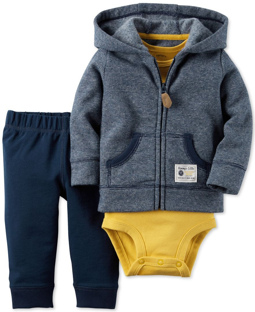 Printed Bodysuit /& Pants Set Carter/'s Baby Boys 3-Pc Striped Fleece Hoodie