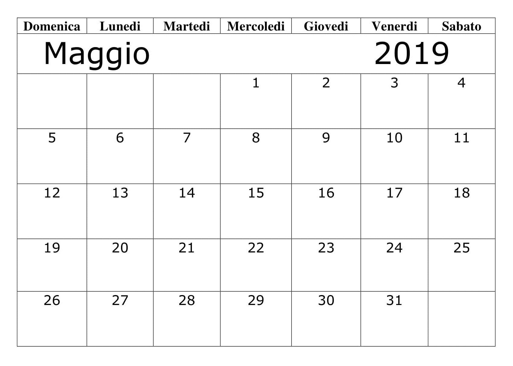 Modello Calendario Word.Mese Maggio 2019 Modello Calendario Calendario Maggio 2019