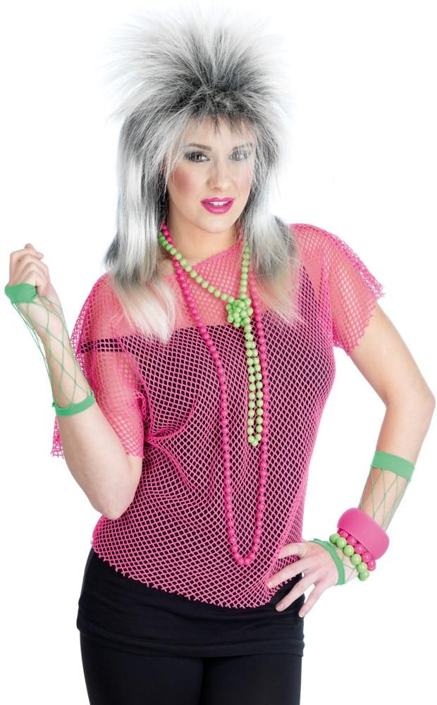 Adult 80s Punk Neon Pink Madonna Mesh Party Top Fancy Dress Costume ...