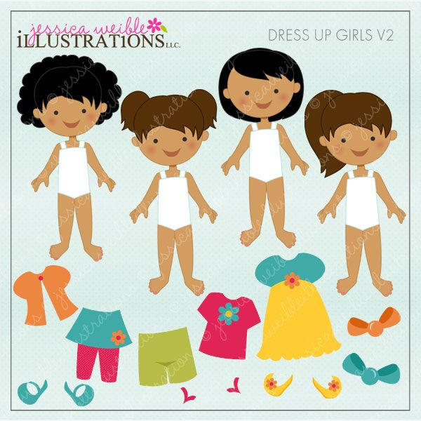 Dress Up Girl V2 Dark Skin clipart set comes with 14 cute pieces ...