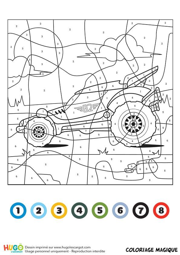 Coloriage magique CE1 : un buggy | Coloriage magique