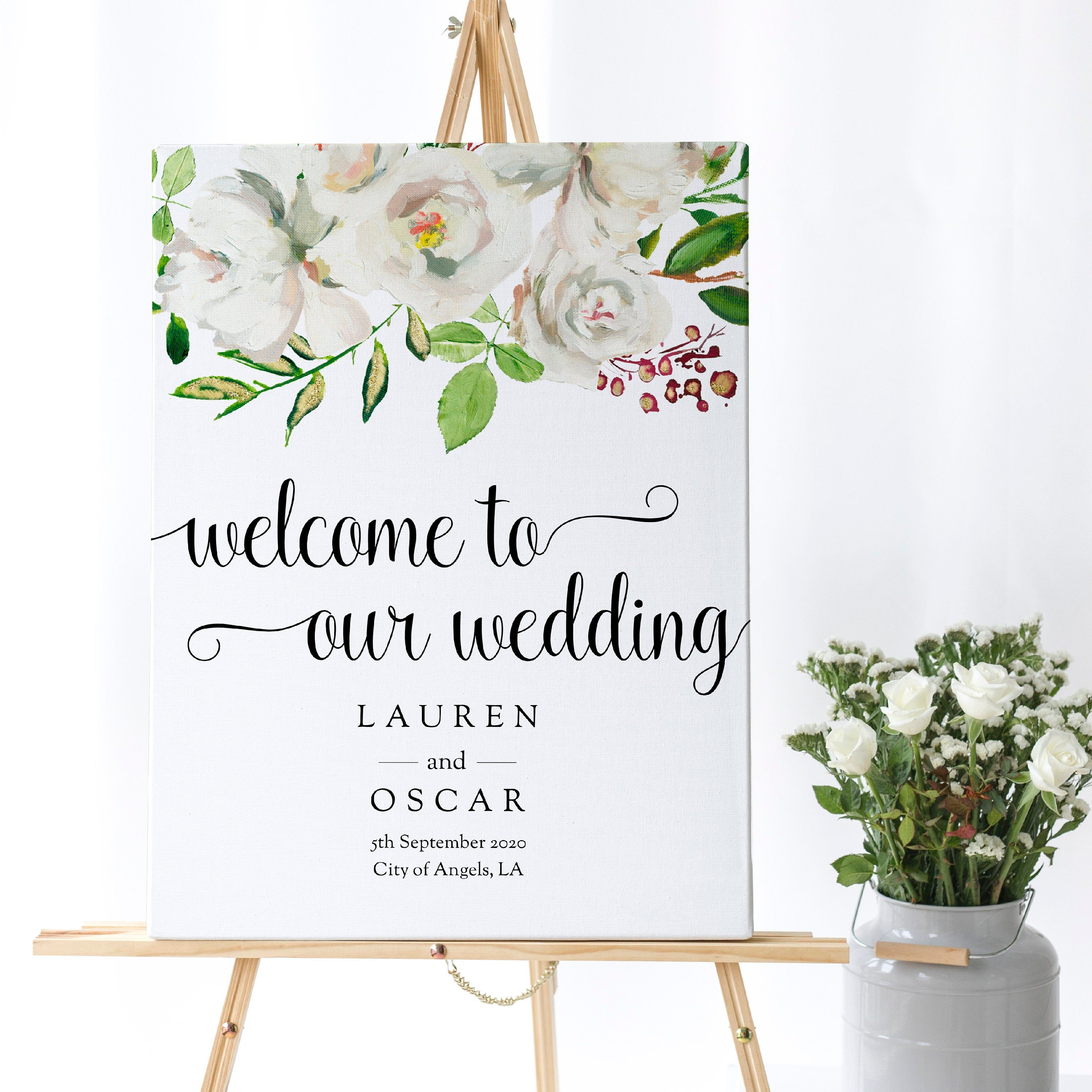 Welcome Sign Template Greenery, Editable Sign, White Rose Wedding Welcome sign, Self-Edit Welcome Sign Template, Instant Download, Spring #weddingwelcomesign