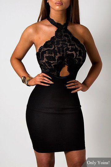 7ab3a67b13 Black See-through Lace Insert Cut Out Halter Mini Dress