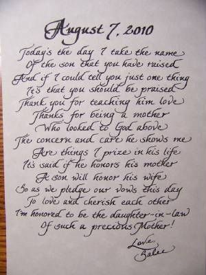 SO SWEET! I want to do this for my husband\'s mom on my wedding day ...