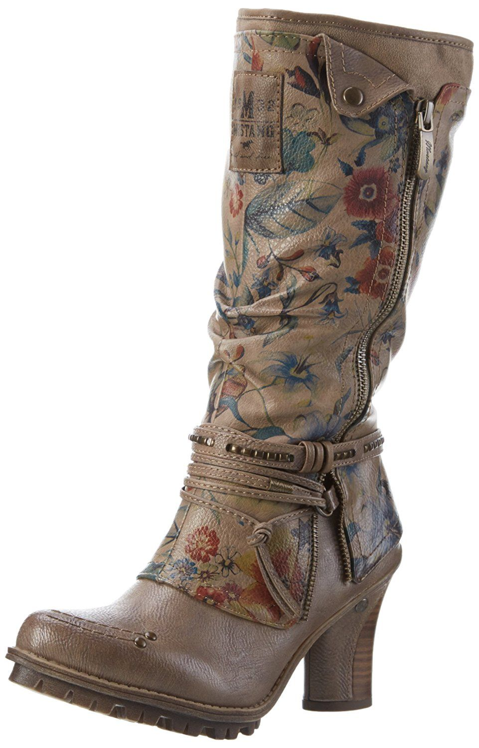 MUSTANG BIKER ANKLE BOOTS TAUPE