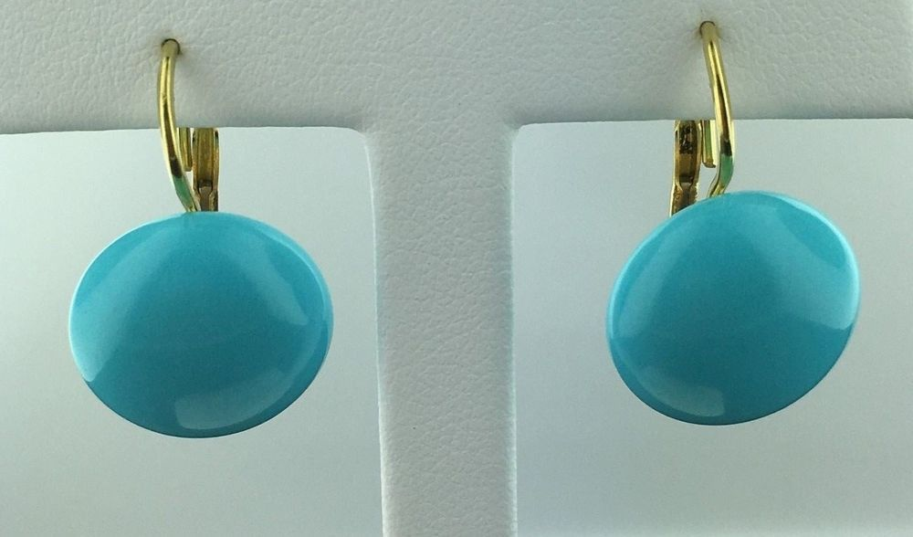 Lady's 18k yellow gold Persian Turquoise 16 mm button style leverback earrings in Jewelry & Watches, Fine Jewelry, Fine Earrings | eBay