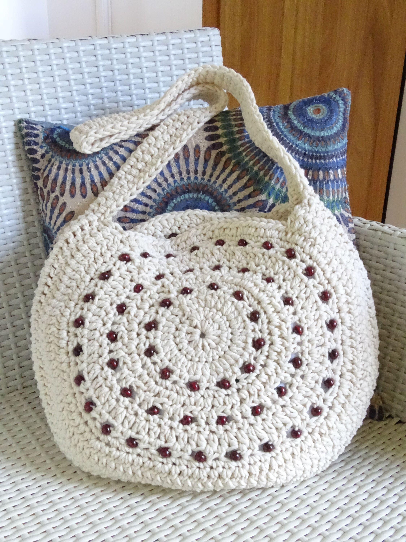 Crochet Bag | Crochet Tote Bag | Crochet Beaded Bag | Hobo Bag ...
