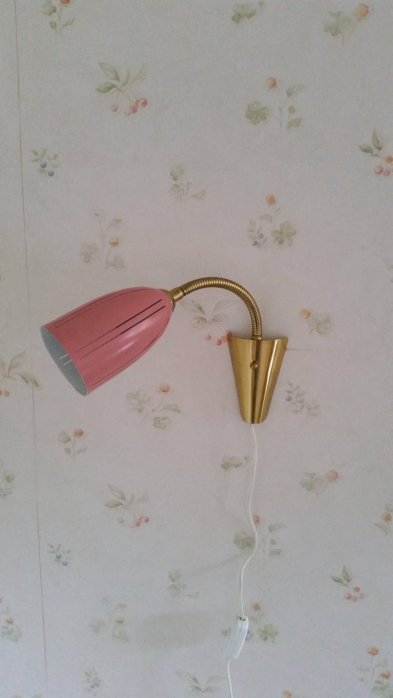 Hansagne jakobsson powdery pink brass wall lamp s flexible arm