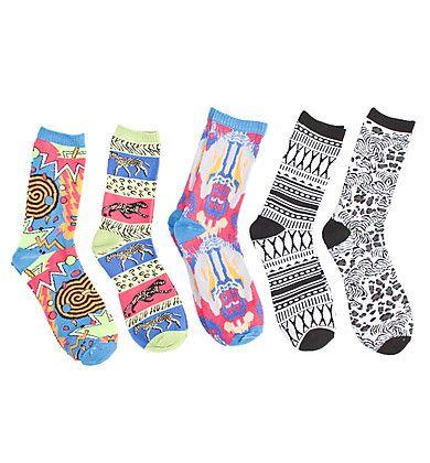 Girls Jungle/Aztec Crew 5 Pack Socks $6  Blnts.com