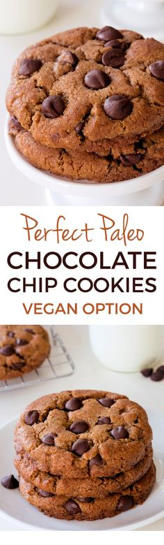 These paleo chocolate chip cookies are thick, chewy and have the perfect texture. Many of the reviewers have called these the best cookies ever and say that even gluten-eaters love them! They also have a vegan option.
