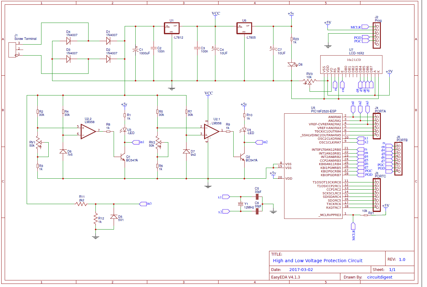 circuit diagram for high low voltage protection pic